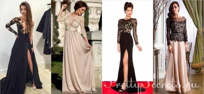 Длинное платье с длинными рукавами