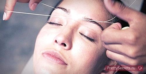 Как провести удаление волос на лице ниткой?